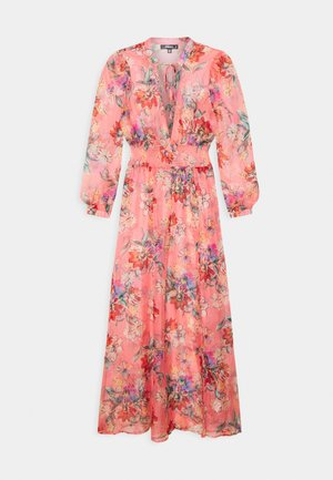 FLORAL SHIRRED WAIST PLUNGE COVER UP - Strandaccessories - pink