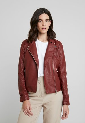 Faux leather jacket - fired brick red