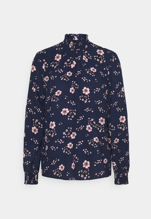 VMGALLIE HIGH NECK SMOCK - Long sleeved top - navy blazer