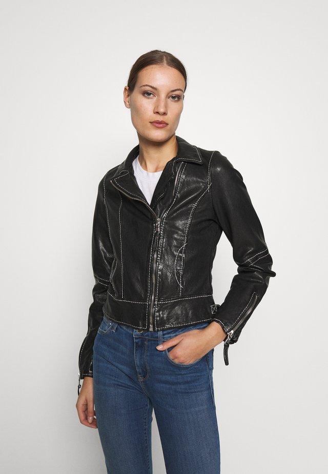 PEARL - Kožená bunda - black