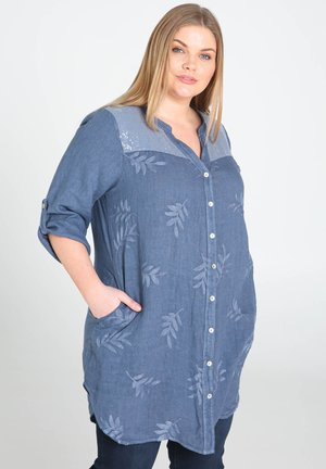 MIT STICKEREIEN UND PAILLETTEN - Button-down blouse - indigo