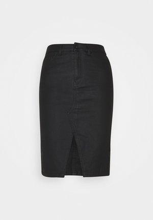 OBJBELLE SUPERCOATED SLIT SKIRT  - Pencil skirt - black