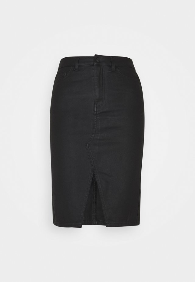 OBJBELLE SUPERCOATED SLIT SKIRT  - Kokerrok - black