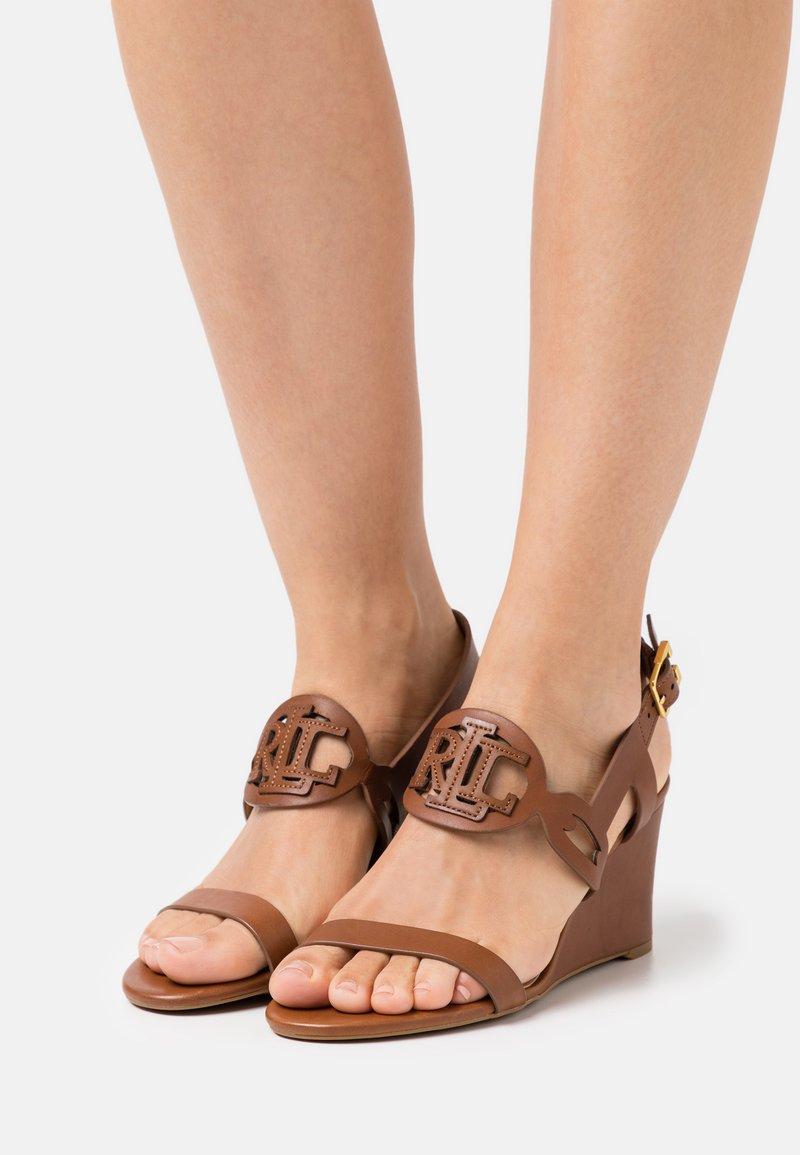 Lauren Ralph Lauren - AMILEA - Wedge sandals - deep saddle tan