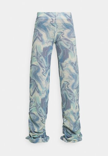 RUCHED JOGGER MARBLE - Tracksuit bottoms - blue mix