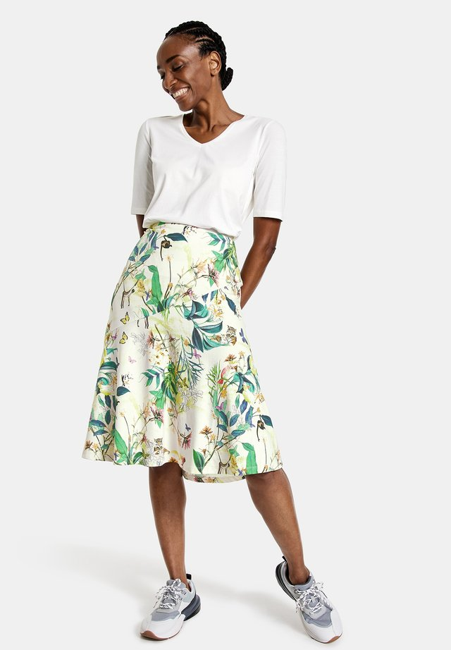 A-line skirt - off white ligh lime aloe druck