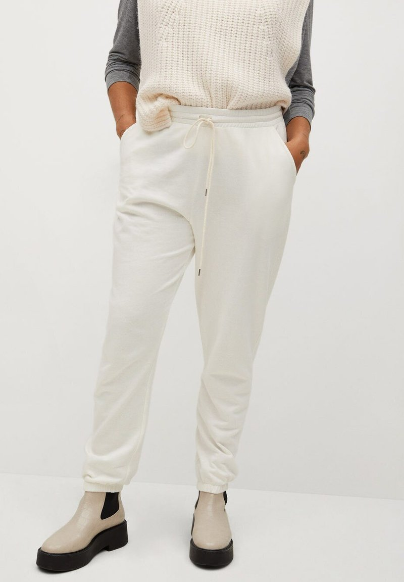 Violeta by Mango - TERRY - Tracksuit bottoms - ecru