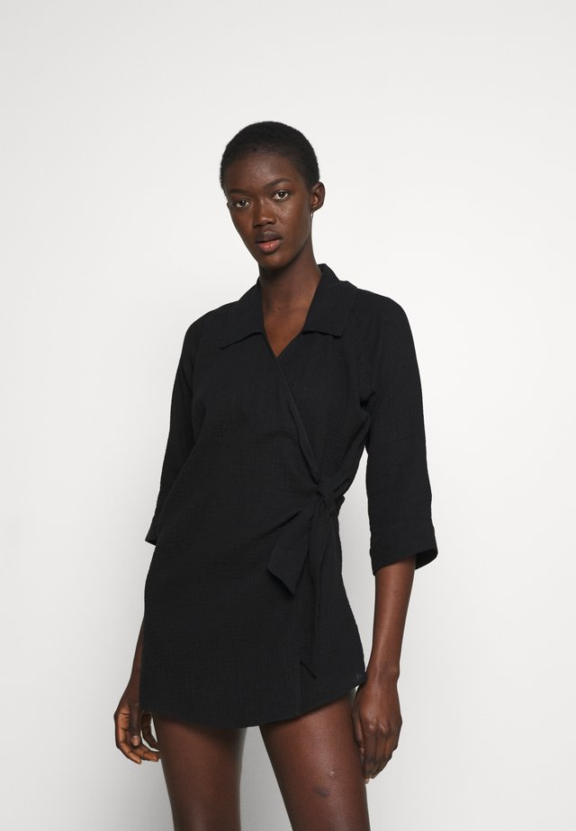 BEACH EDIT COASTAL WRAP DRESS - Strandaccessoire - black