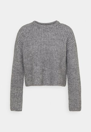 CROPPED WOOL BLEND JUMPER - Strikkegenser - mottled grey