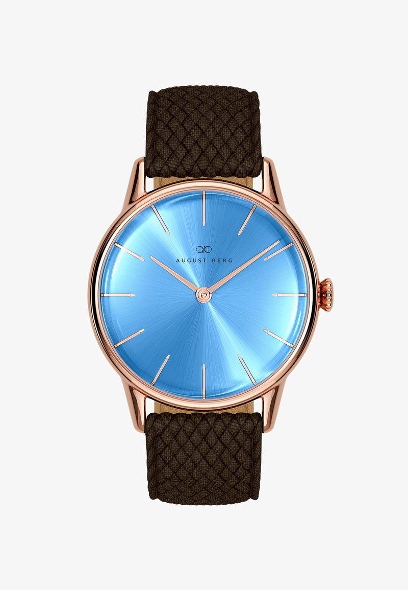August Berg - UHR SERENITY SKY BLUE DARK BROWN PERLON 32MM - Watch - sky blue