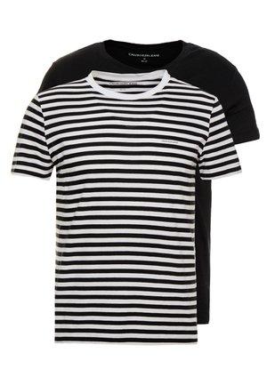 SLIM 2 PACK  - T-shirt z nadrukiem - black beauty/bright white