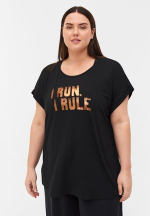 Print T-shirt - black i run