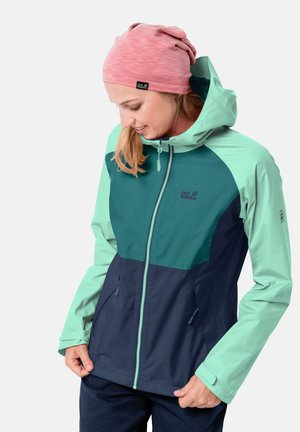 Waterproof jacket - dark indigo emerald green