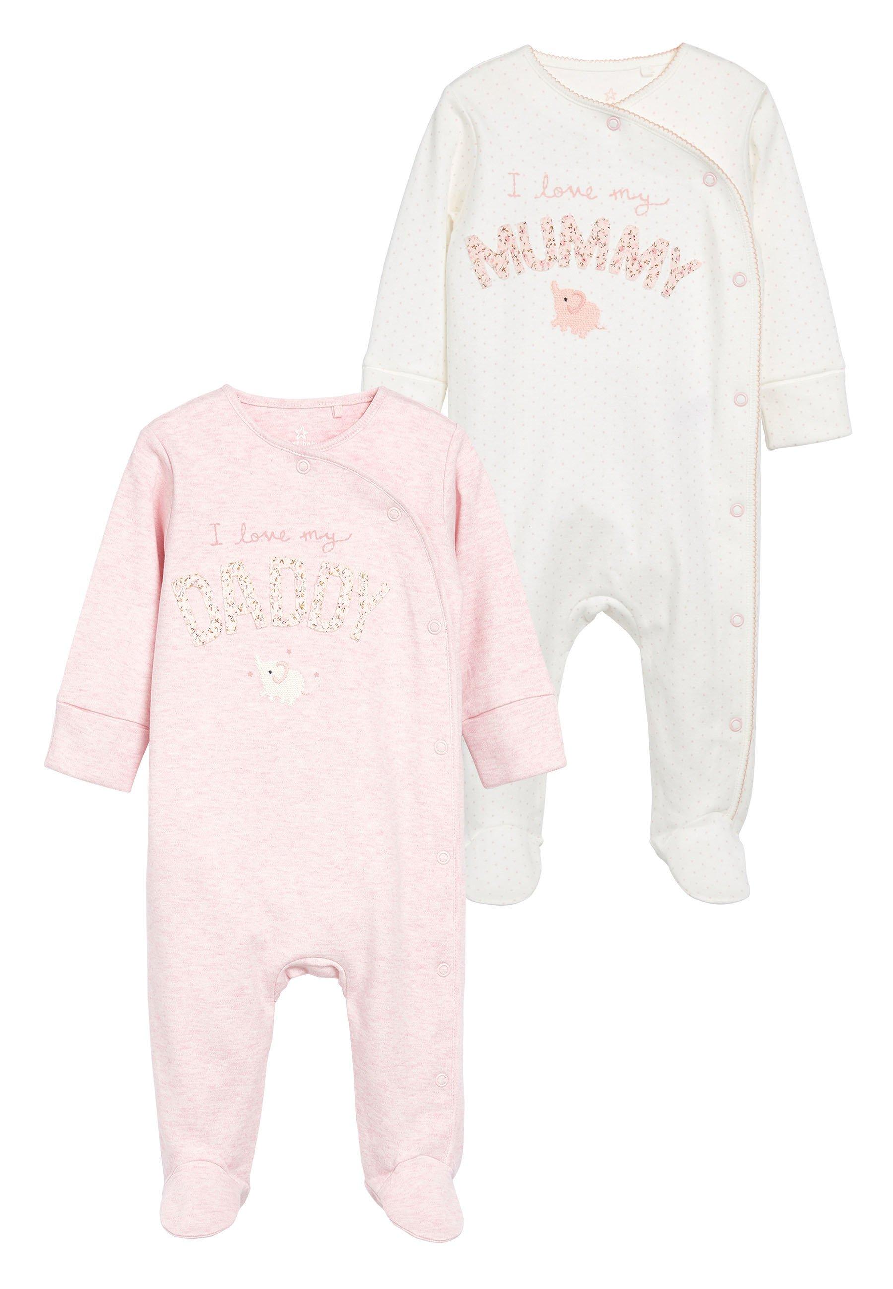 Niño PINK/WHITE 2 PACK MUMMY AND DADDY ELEPHANT SLEEPSUITS (0MTHS-2YR - Pijama