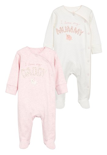 PINK/WHITE 2 PACK MUMMY AND DADDY ELEPHANT SLEEPSUITS (0MTHS-2YR