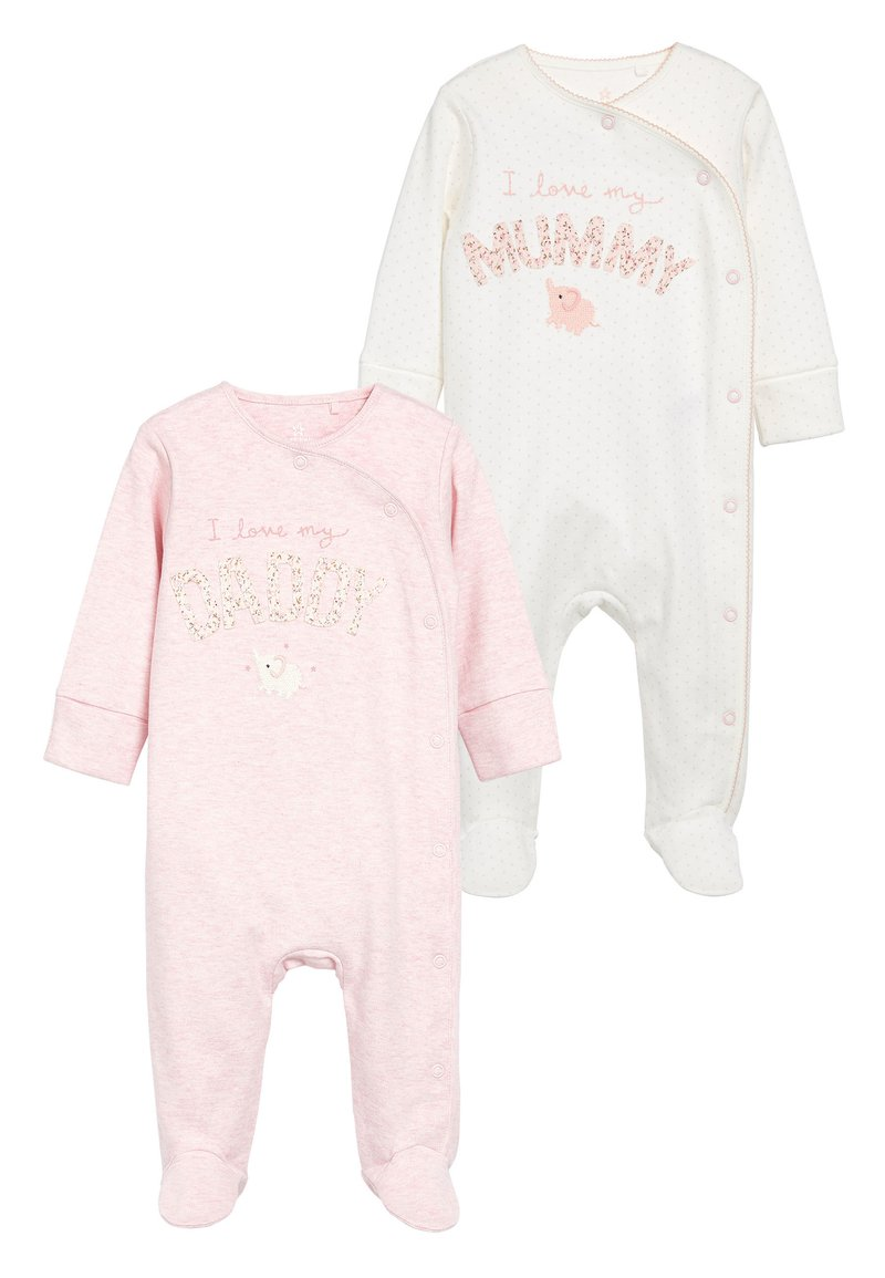 Next - PINK/WHITE 2 PACK MUMMY AND DADDY ELEPHANT SLEEPSUITS (0MTHS-2YR - Pyjamas - pink