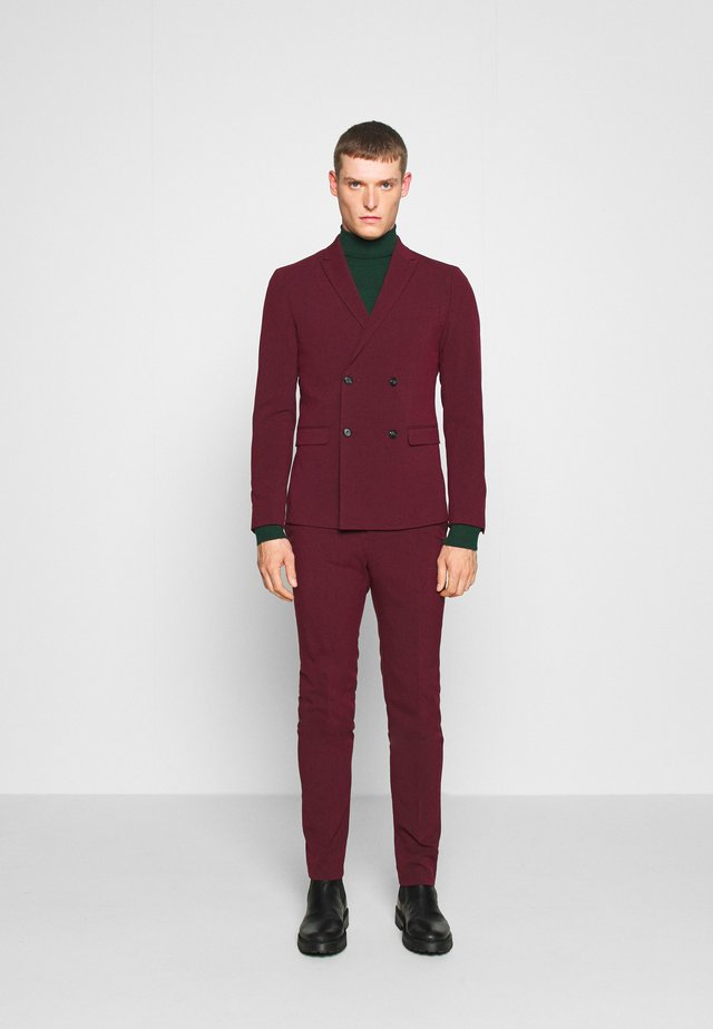 DOUBLE BREASTED SUIT - SLIM FIT - Puku - bordeaux