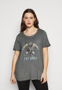 Zizzi - MBRITT - Print T-shirt - grey washed - 0