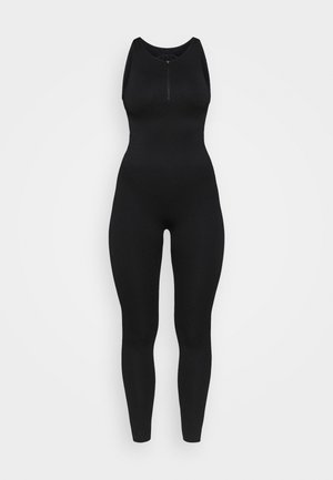 ZIP UP LONG BODYSUIT - cvičební overal - black
