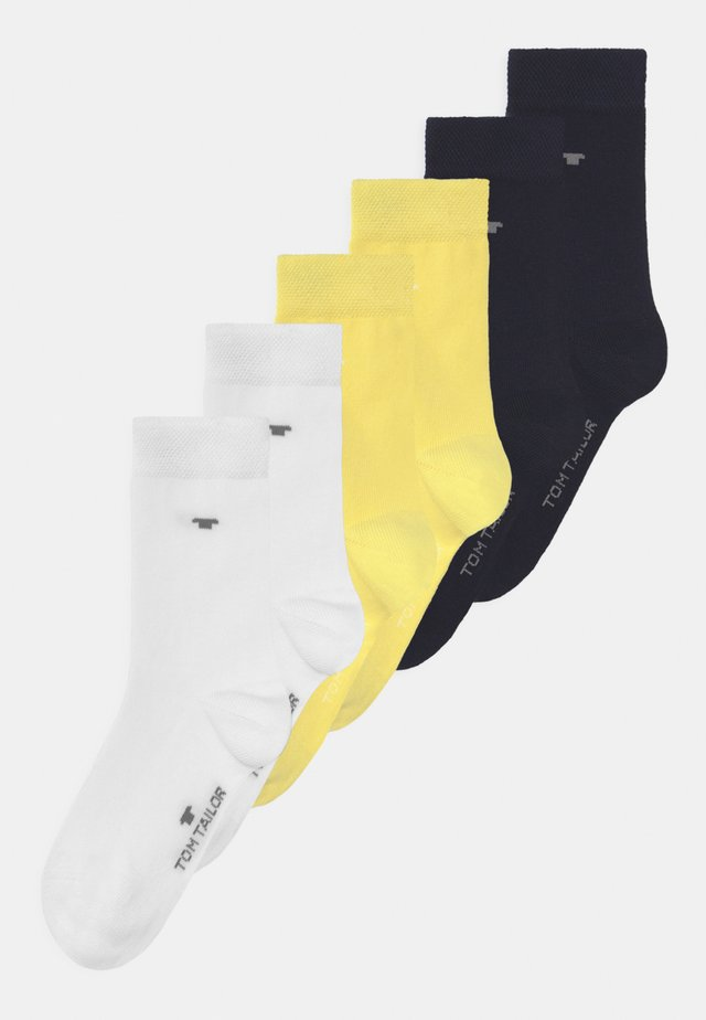 BASIC 6 PACK UNISEX - Socks - yellow cream/white/dark navy