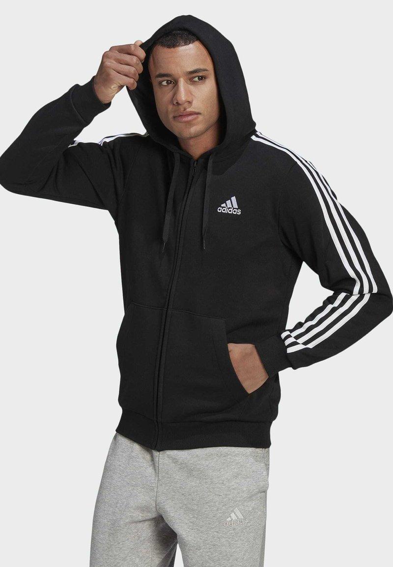 adidas Performance - 3 STRIPES FLEECE FULL ZIP ESSENTIALS SPORTS TRACK JACKET HOODIE - Vetoketjullinen college - black