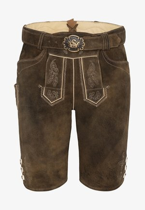 VOLKER - Leather trousers - brown