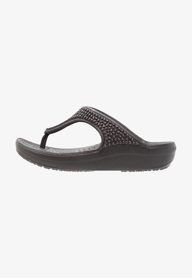 Crocs - SLOANE EMBELLISHED FLIP - Tongs - black