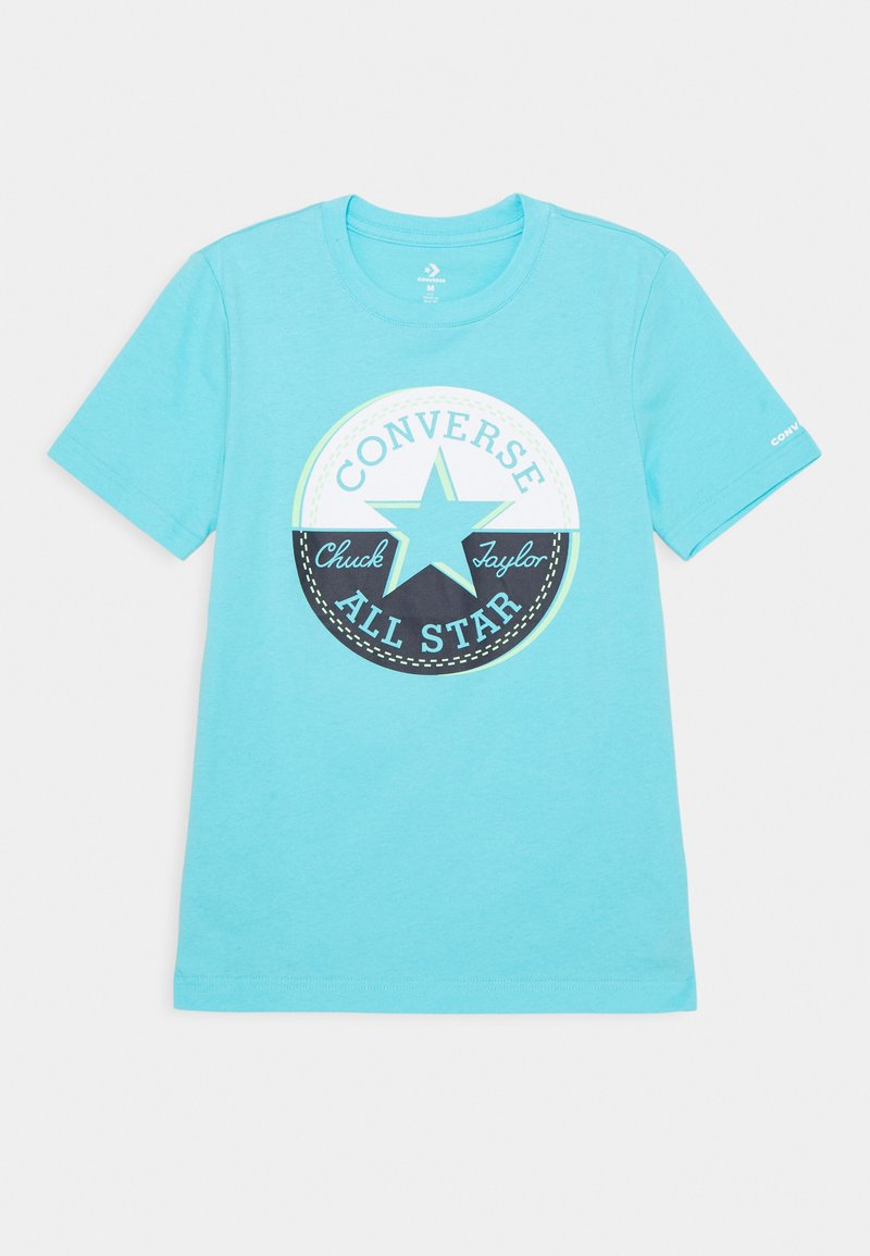 Converse - SHORT SLEEVE CHUCK PATCH GRAPHIC - Triko spotiskem - bleached cyan