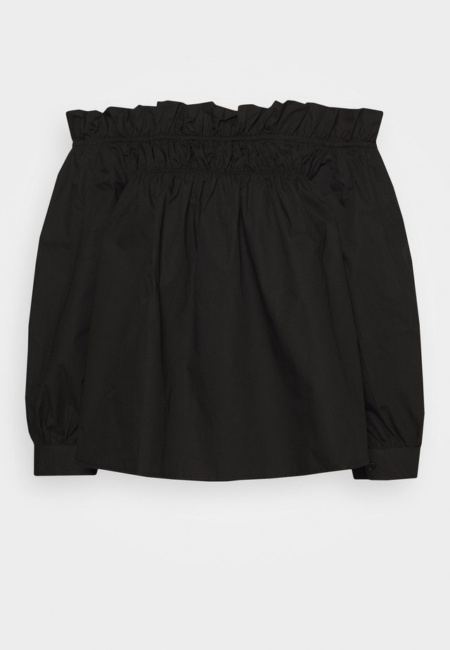 POPLIN BARDOT FRILL DETAIL - Bluzka - black