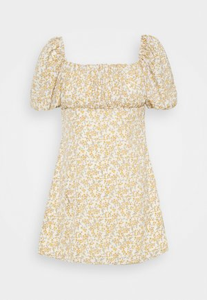 RUCHED BUST DRESS FLORAL - Day dress - yellow