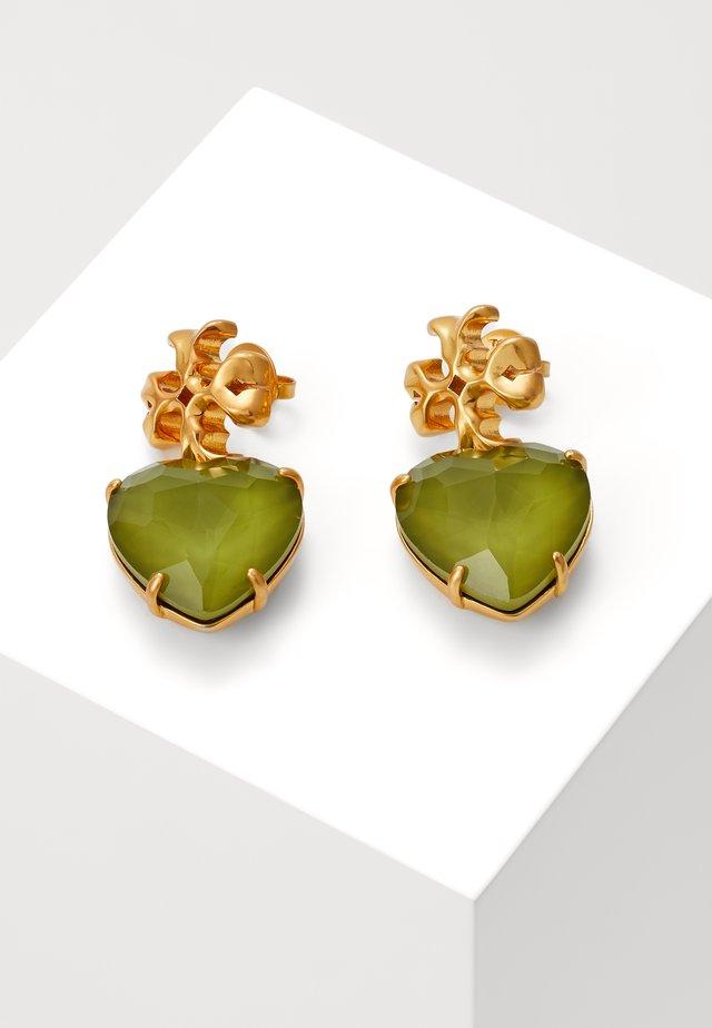 CARVED KIRA HEART EARRING - Oorbellen - olive