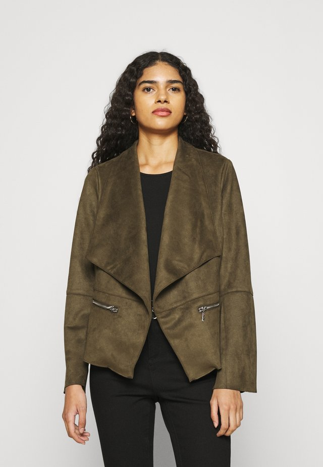 WATERFALL JACKET - Faux leather jacket - khaki
