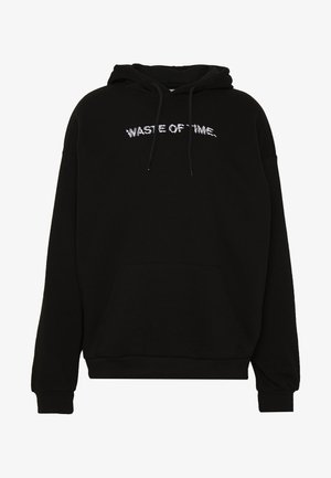 WASTE OF TIME HOOD - Bluza z kapturem - black