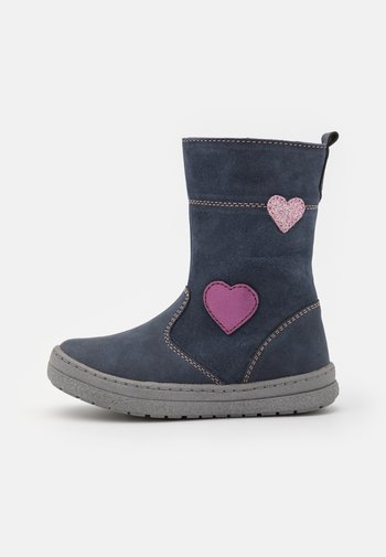 LEATHER - Boots - blue-grey