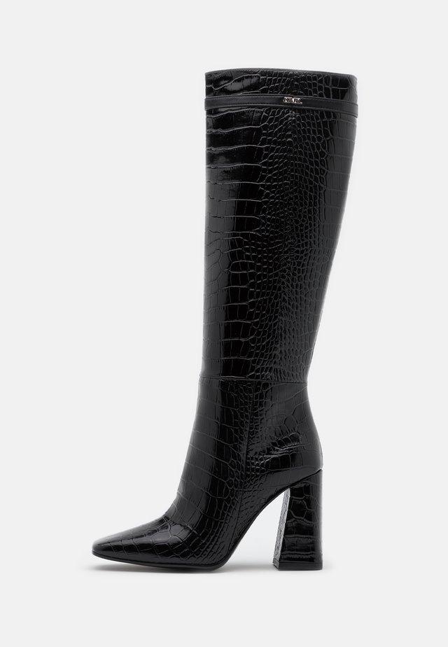 LEG BOOT EXOTIK - Kozačky na vysokém podpatku - black