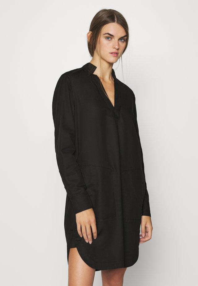 MILARY V NECK SHIRT DRESS L\S - Day dress - black