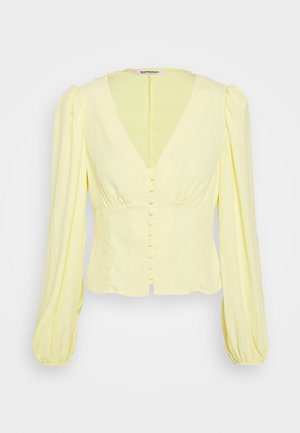 BUTTON FRONT BLOUSE WITH PLUNGING NECKLINE AND LONG SLEEVES - Bluser - pale lemon