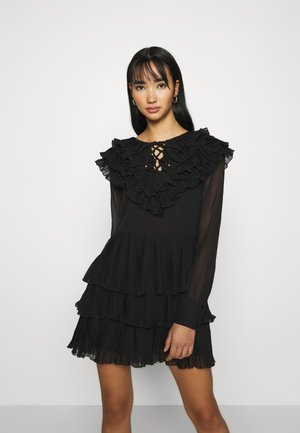 PLISSEE CROSS FRONT MINI - Day dress - black