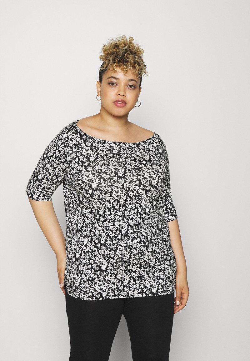 Lauren Ralph Lauren Woman - JUDY ELBOW SLEEVE - Print T-shirt - black/white