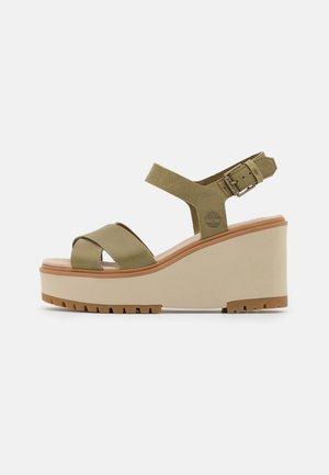 KORALYN X STRAP - Platform sandals - olive
