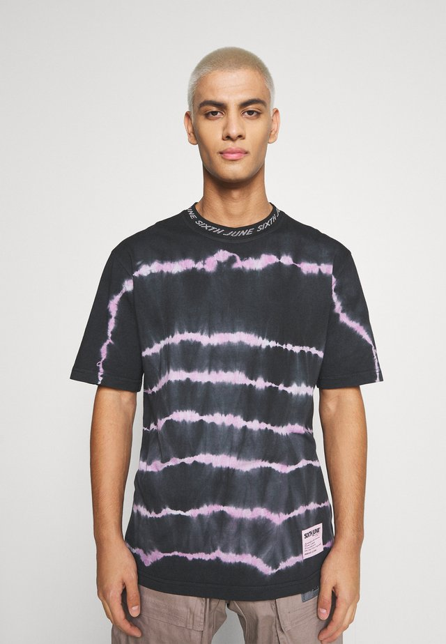 TIE DYE LINES TEE - T-shirt imprimé - black