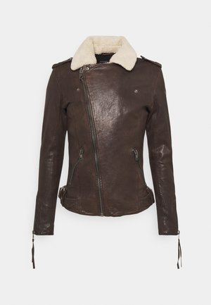 BEREND - Leather jacket - coffee