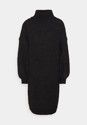 NMROBINA HIGH NECK DRESS - Strikket kjole - dark grey
