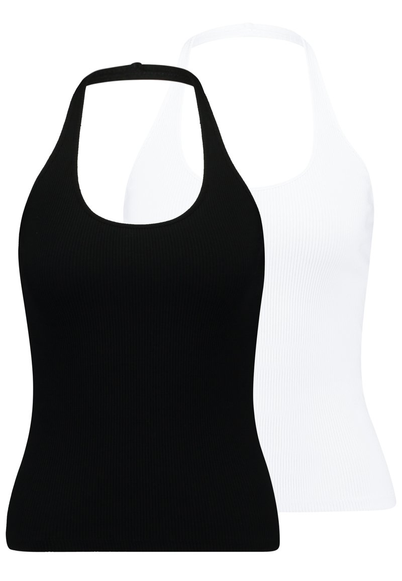 Monki - 2 PACK BRIZY SINGLET UNIQUE - Top - white/black
