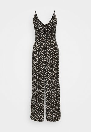 TIE FRONT FLORAL - Overall / Jumpsuit - black