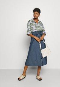 Pieces - PCELSA SKIRT - A-line skirt - dark blue denim - 1
