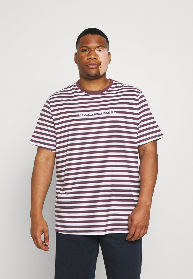 GLOBAL STRIPE LONGLINE TEE - T-shirt print - plum