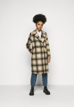 VMHAILEY CHECK LONG - Classic coat - tobacco brown/black/oatmeal