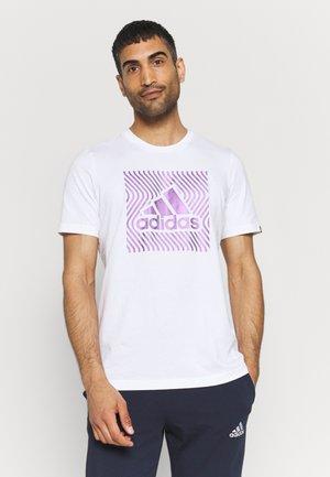 Print T-shirt - white/dark purple
