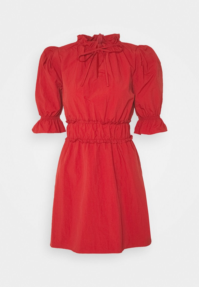Missguided - RUCHED WAIST PUFF SLEEVE DRESS - Day dress - wine